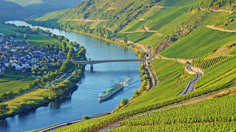Elvecruisebåt på Mosel i vakker dal. Vinranker på en side og liten landsby på andre siden av elven.